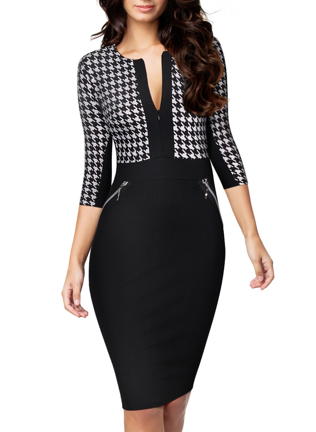 Miusol Women Formal Houndstooth-Print Optical Illusion 2/3 Sleeve Business Dress Black Large by Miusol