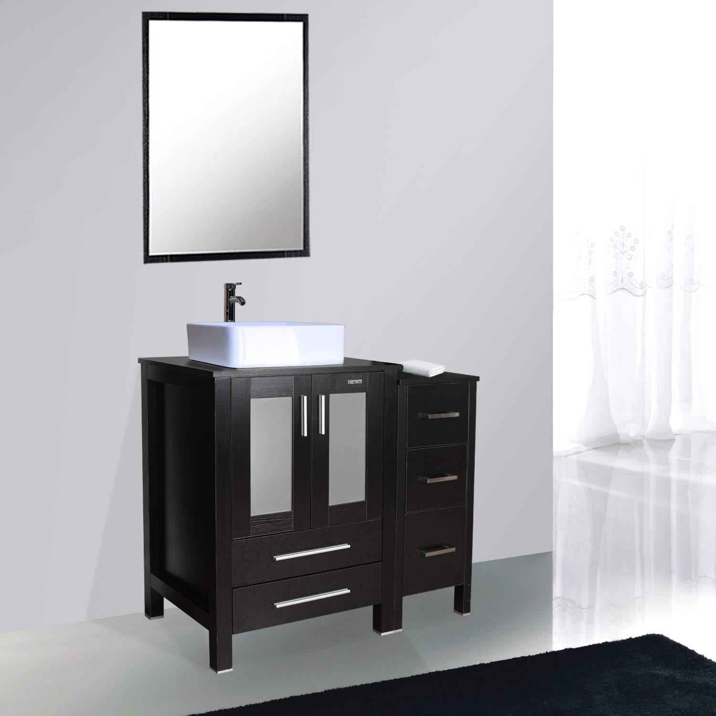 Eclife 36 Bathroom Vanity Sink Combo Black W Side Cabinet Vanity