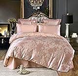 UniTendo 4 Piece Sateen Cotton European Luxury Jacquard Duvet Cover Sets,Delicate Floral Pattern Bedding Sets,Duvet Cover Flat Sheet and 2 Pillowcases, Queen, Red Bean Paste