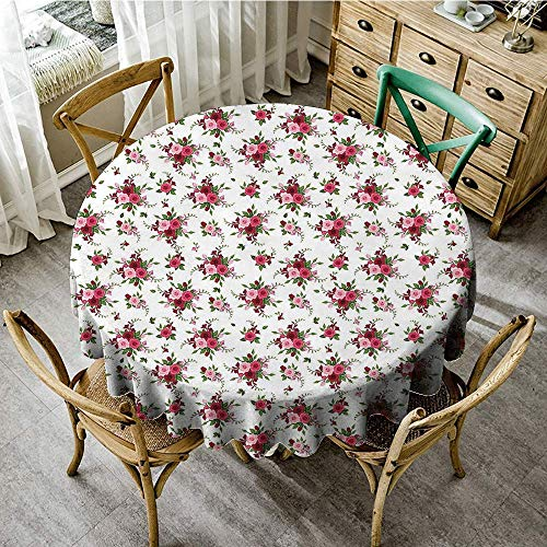 DONEECKL Washable Tablecloth Flowers Bridal Bouquets Pattern with Roses and Freesia Romantic Victorian Composition Easy to Clean D51 Pink Ruby Green