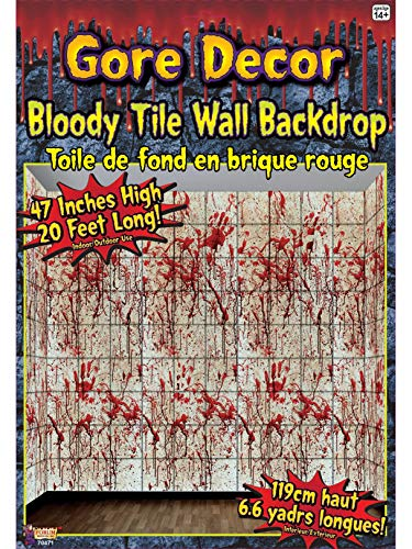Forum Novelties 70471 Gore Decor Bloody Tile Wall Backdrop, Multicolored, 20-Foot,]()