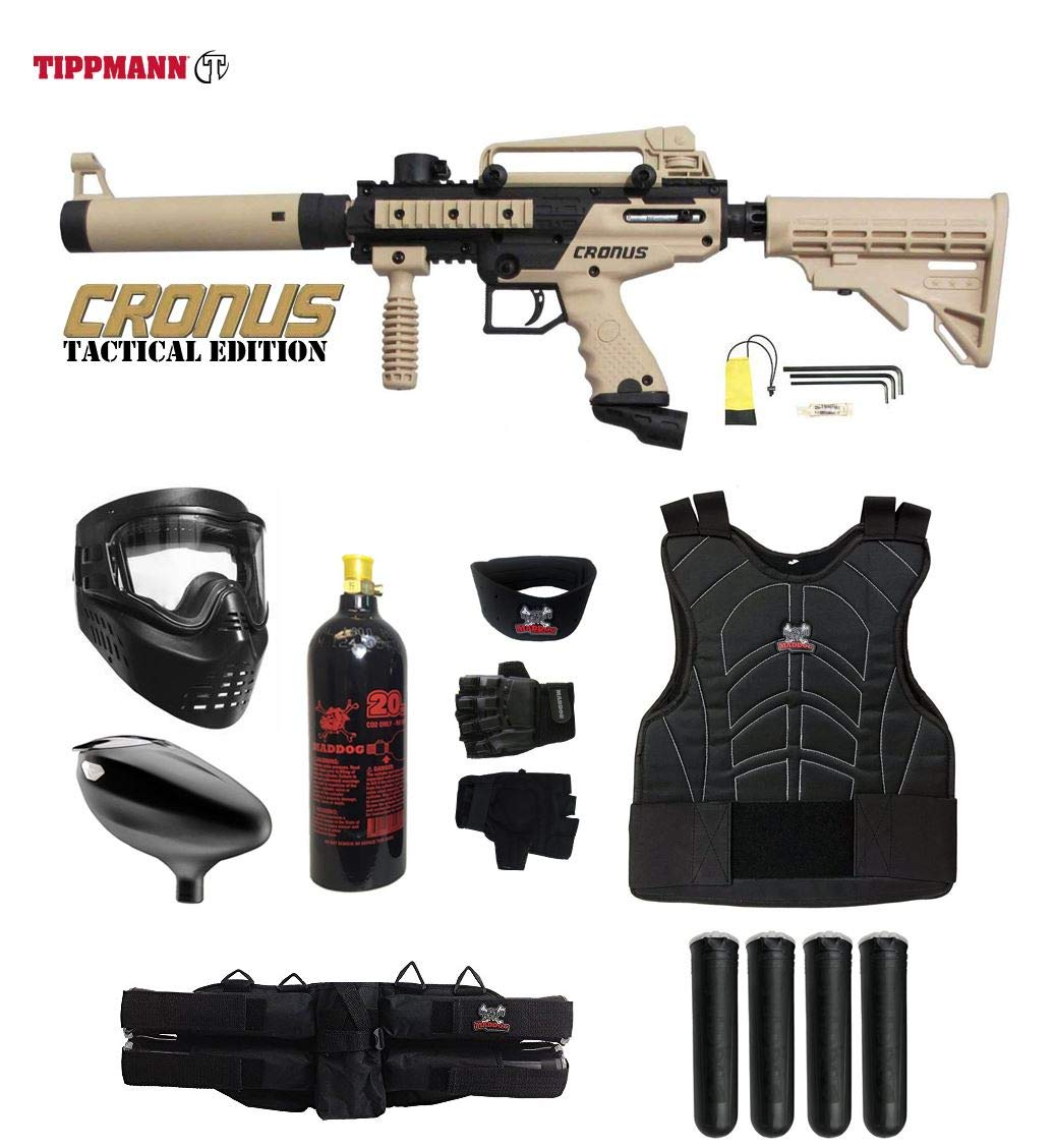 Maddog Tippmann Cronus Tactical Starter Protective CO2 Paintball Gun Package - Black/Tan by Maddog