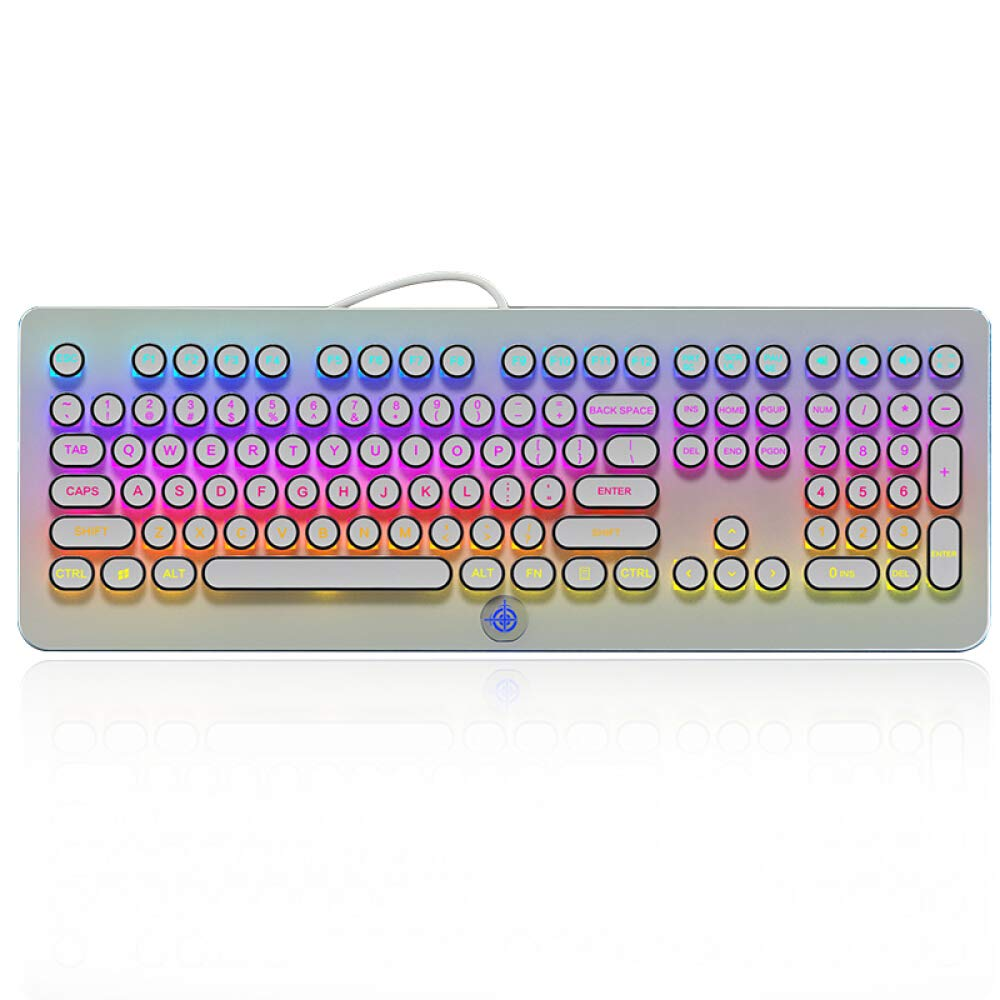 MK9 RGB Mechanical Keyboard RGB Retro Gaming Keyboard-Blue Switch-LED Backlit - Silver-Plating 108 Key Round Keycaps Anti-Ghosting Mechanical Illuminated Keyboard for PC Gaming and MAC (White)