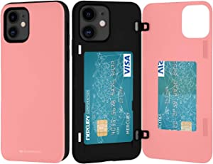 Goospery iPhone 12 Mini Wallet Case with Card Holder, Protective Dual Layer Bumper Phone Case (Pink) IP12M-MDB-PNK