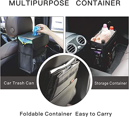 Car Garbage Can with Lid Multipurpose Trash Bin for Car Portable Car Trash Bag with Storage Pockets Hanging Car Trash Can100/% Leak-Proof Car Organizer Black