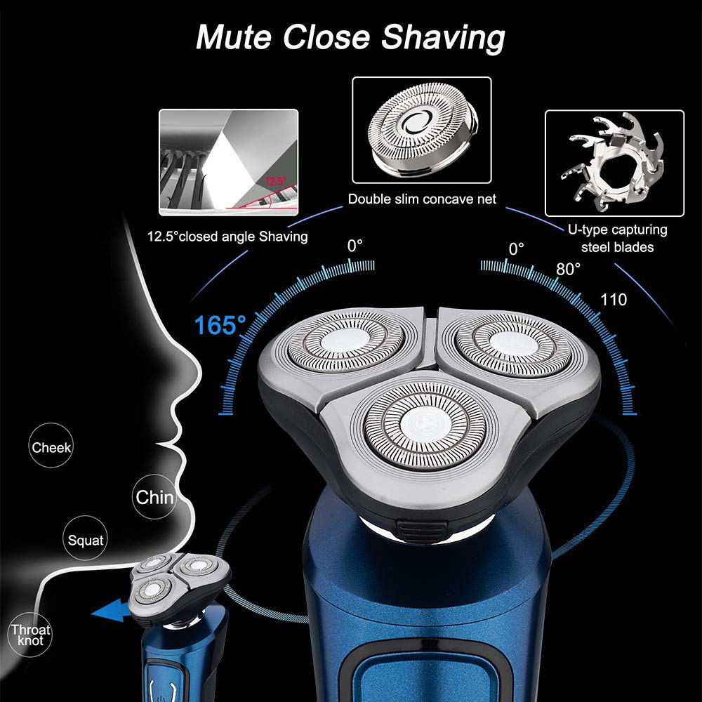 Electric Razor for Men, 4 In 1 Wet & Dry Rotary Shaver Beard Trimmer Set