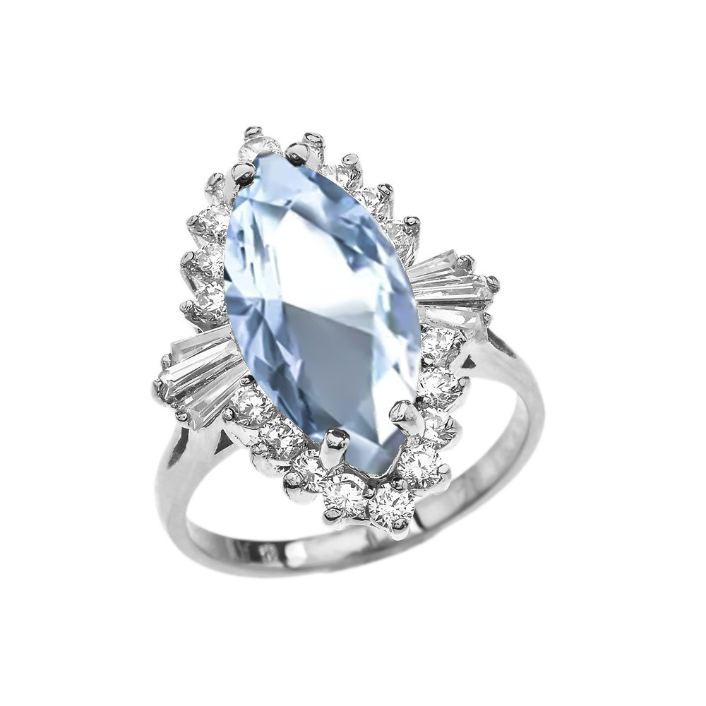 March Birthstone Aqua Cubic Zirconia Ballerina Ring in 14k White Gold (Size 9.75)
