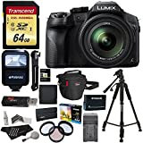 "Panasonic LUMIX DMC FZ300 4K Point and Shoot Camera with Leica DC Lens 24X Zoom Black + Polaroid Accessory Kit + 64GB SD Card + 50"" Tripod + Ritz Gear Bag + Battery + Charger + Filter + Cleaning Kit"
