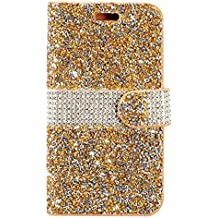 ZTE Blade Z Max Z982/ Sequoia Case,Customerfirst Diamond Pouch PU Leather Wallet Diamond Protector Cover (Gold)