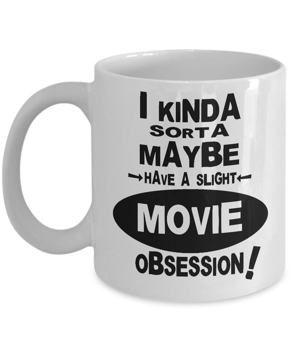 GANTEE - MOVIE OBSESSION MUG - Gifts for Movie Lovers, Movie Lover Mug, Movie Lover Gift, Movie Themed Mug, Movie Buff Gift, Movie Buff Coffee Mug MUG 15oz