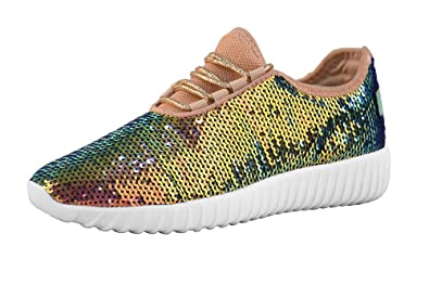 77490209a445 LUCKY STEP Women Mermaid Sequin Glitter Tennis Sneakers for Spring Gold  Reversible Turquoise Green Gold Gym