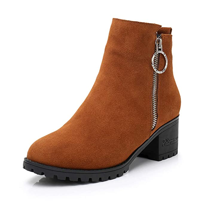 Womens Brown Suede Chunky Block Heel Botines Vestido De Fiesta De Oficina Para Mujer Zapatos De Boda Punta Redonda Con Cremallera Botas Cortas: Amazon.es: ...