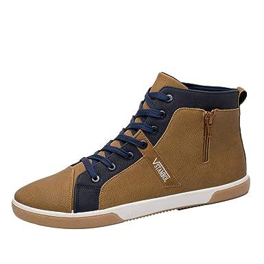 Zapatos de hombre JiaMeng Moda Zapatos Casuales Rejilla con Cremallera Zapatos de tacón Alto para Hombre Zapatos Casuales Hombre con Cordones: Amazon.es: ...