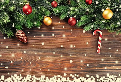 Laeacco Christmas Theme Backdrop 10x6.5ft Vinyl Photography Background Dreamy Christmassy Decoration Vintage Plank Pine Cone Candy Snow Frame Xmas Eve Celebration Party Banner Baby Child Adult Shoot