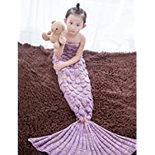 KALRI Warm and Soft Knit Mermaid Blankets for Kids Sofa Bed Living Room Blanket (pink)