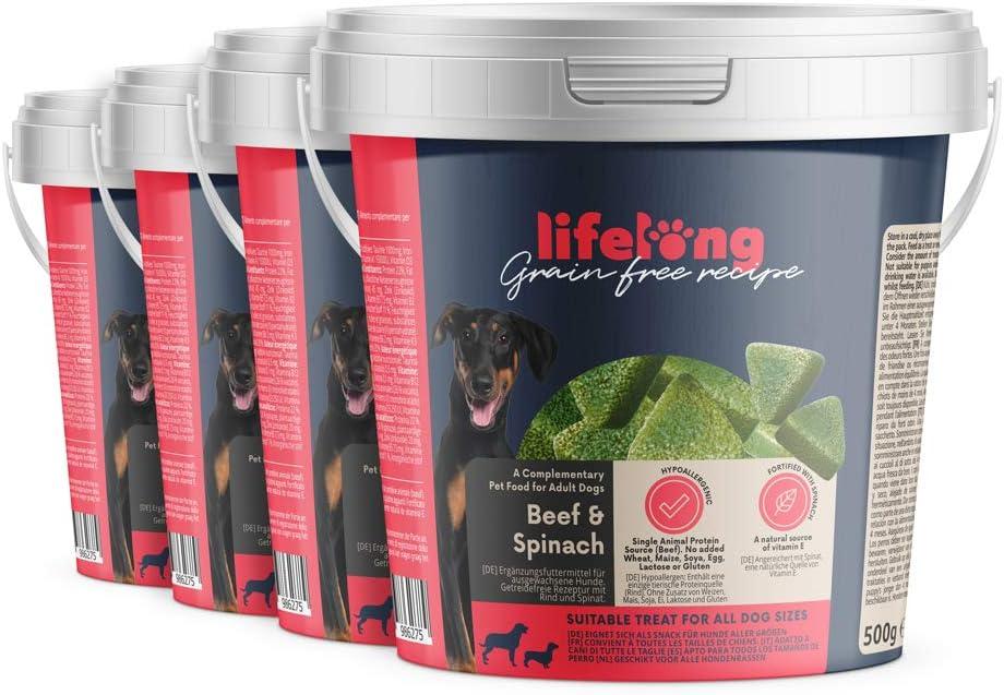 Marca Amazon - Lifelong - Treats para perros, sin trigo, con mono-proteína, con vacuno y espinaca (4 botes x 500gr)