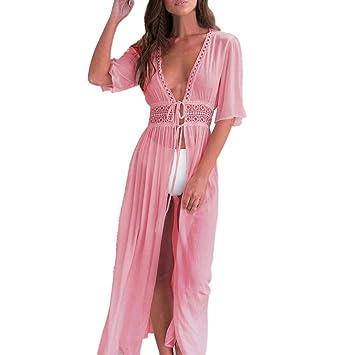 Ba Zha Hei Vestido de Blusa de Bikini de Mujer Vestido Elegante Casual Playa Dress Cuello