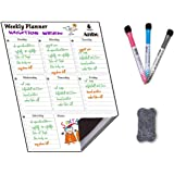 Magnetic Weekly Calendar White Board Planner for your Refrigerator or Office Includes: Perpetual Dry Erase Calendar…