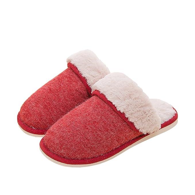 Yimidear Mujeres y Hombres Cómodo Suave Caliente Felpa Zapatillas de Casa Zapatos Antideslizantes (XL, Café)