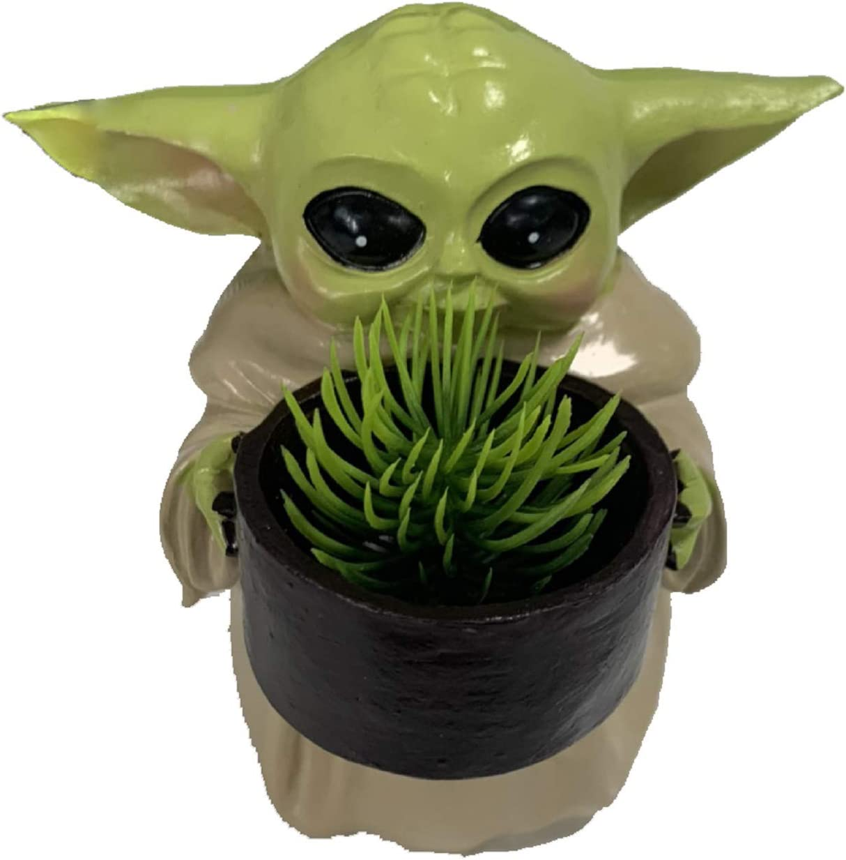Baby Yoda Planter Pot Creative Resin Ornament Flower Pot with Hole Star Wars Mandalorian The Bounty Collection 4.2 inch ''The Child Holding Cup'' Home Decor Collectible Toy Figure Gift (1 Pack)