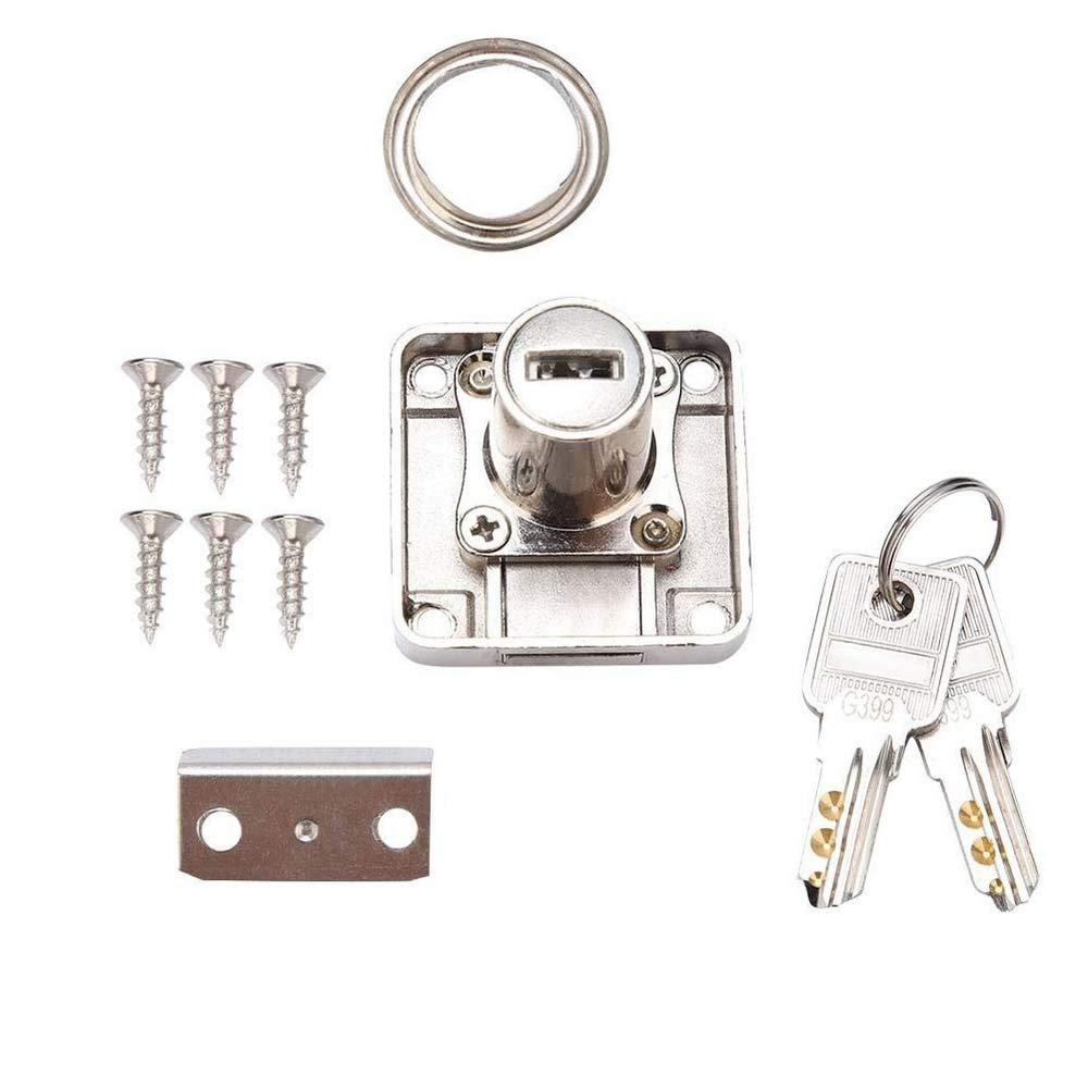 Serratura a cilindro per armadietti e cassetti con base quadrata a vite adatta per casa e ufficio con due chiavi in lega di zinco