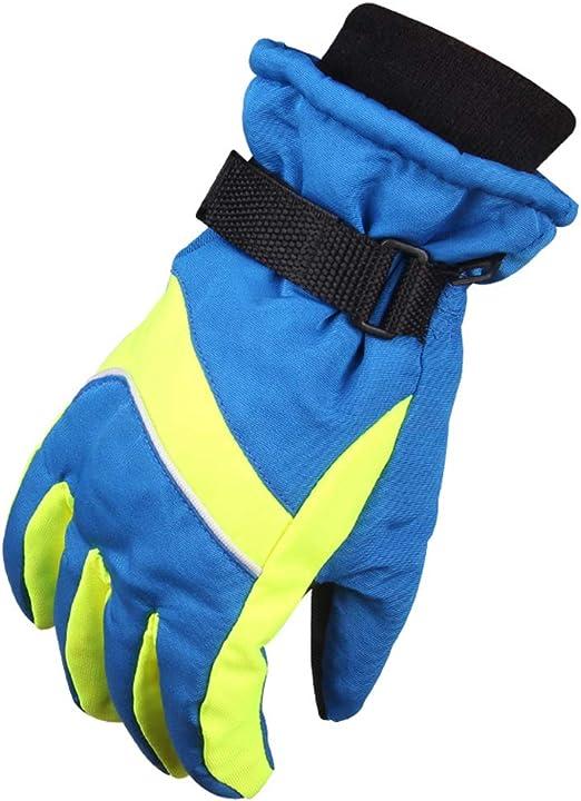 JINGJING Guantes de esquí para niños Espesar Invierno Algodón Niño y niña Protección contra el frío Deportes Impermeable Guantes a Prueba de Nieve,Azul: Amazon.es: Hogar
