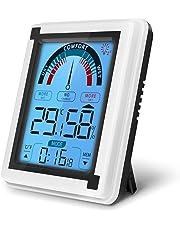 yidenguk Termometro Igrometro Digitale per Interno, Temperatura da Ambiente Termoigrometro con Schermo Touchscreen e Retroilluminazione, MIN & MAX Records, per ufficio/camera da letto/cucina