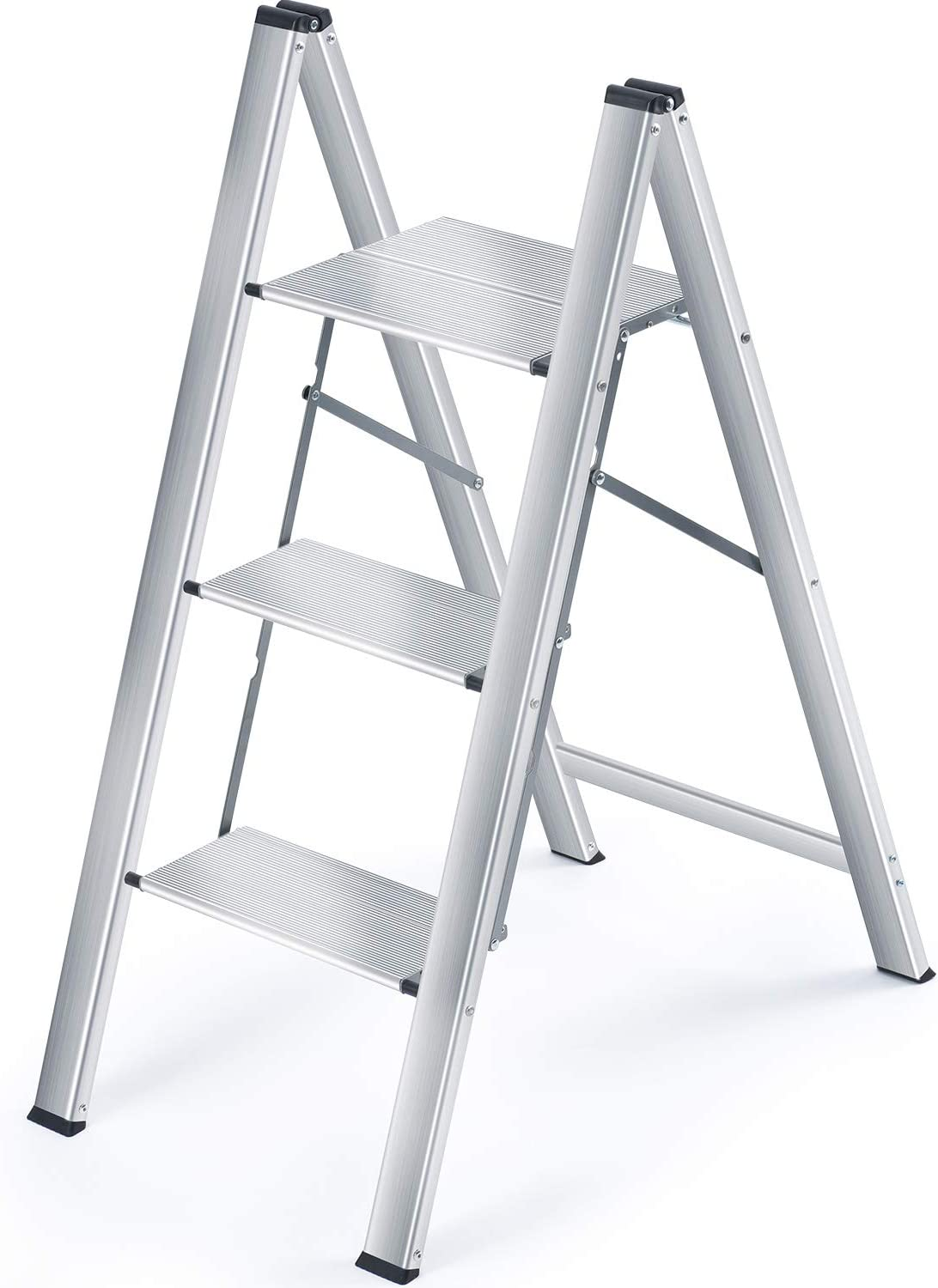 KINGRACK Step Ladder, 3 Step Aluminium Folding Ladder,Portable Slim Step Stool, Safety Household Ladder Stepladder with Milti-fuction