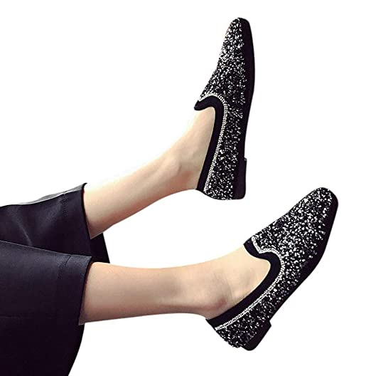 b0e676a6cc5a Photno 2020 Madam New Personality Sequins Korean Version of The Wild Fashion  Flat Shoes Black