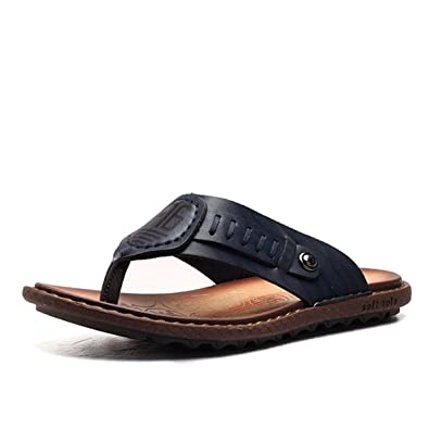 faecf2bcc87b2b gracosy Mens Leather Flip Flop Sandals