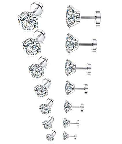 65c436ff4 Tornito 7 Pairs 20G Stainless Steel Stud Earrings Round Cubic Zirconia  Barbell Earring Set For Men