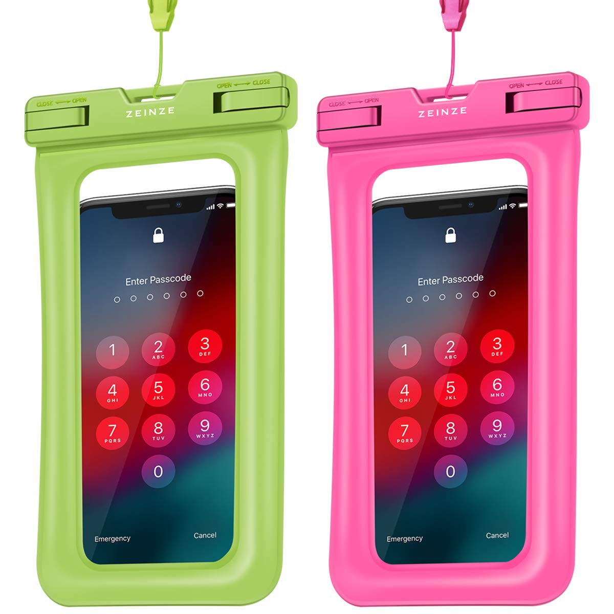 ZEINZE Floating Waterproof Phone Pouch IPX8 Universal Waterproof phone Case Drg Bag for iPhone Xs/Xr/X/8Plus/8/7Plus/7/6s/6 /Samsung Galaxy S10/S9/S8/S7 Devices Up to 6.2''(Green+Pink) by ZEINZE