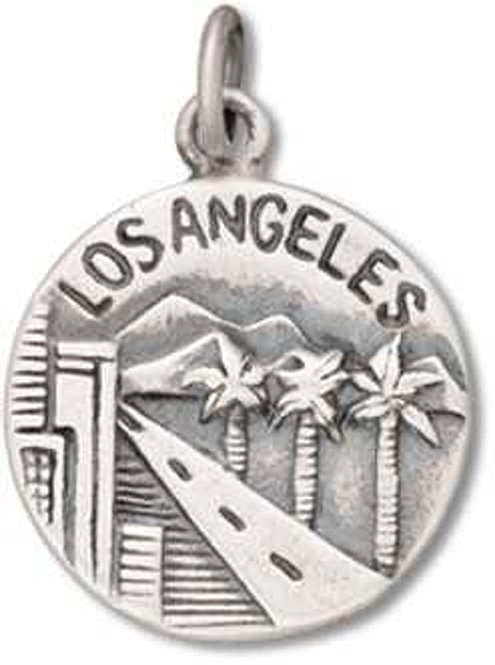 Sterling Silver Girls .8mm Box Chain Los Angeles City Of Angels Two Sided Circle Pendant Necklace