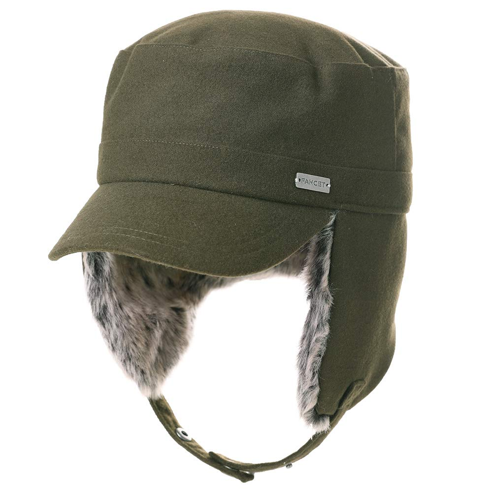 Fancet Womens Earflap Army Cap Military Winter Outdoor Hat for Men Baseball Cadet Combat Green