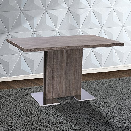 Armen Living LCZEDIGRTO Zenith Dining Table with Grey Walnut Wood and Brushed Stainless Steel Finish