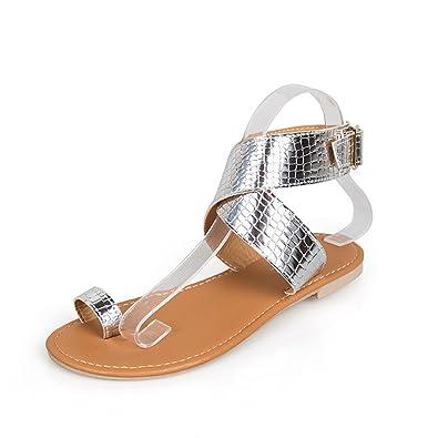 Femmes Ouvert Paillettes Boucle Toe Sangle Nu Ceinture Plates Doigt Croisée Entre De Sandales Peep Chaussures Pieds Bout eIWE29YDbH