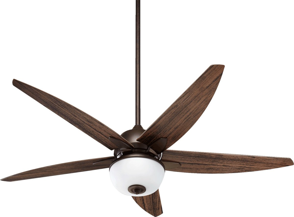 Quorum 19525-86 Rockwell Oiled Bronze Outdoor 52'' Ceiling Fan with Light & Pull Chain Controls by Quorum
