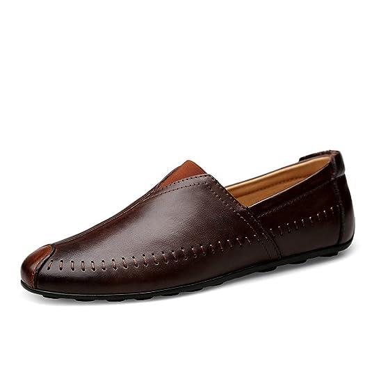 Anguang Herren Low-Top Business Britischer Stil PU-Leder Slip On Schuhe Fahrschuhe Loafers Mokassins Braun#2 44 CGRbT6