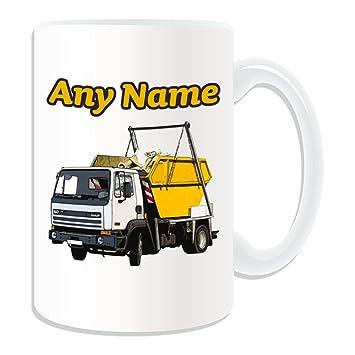 Personalizado regalo – gran Skip camión taza (diseño de transporte tema, blanco) –