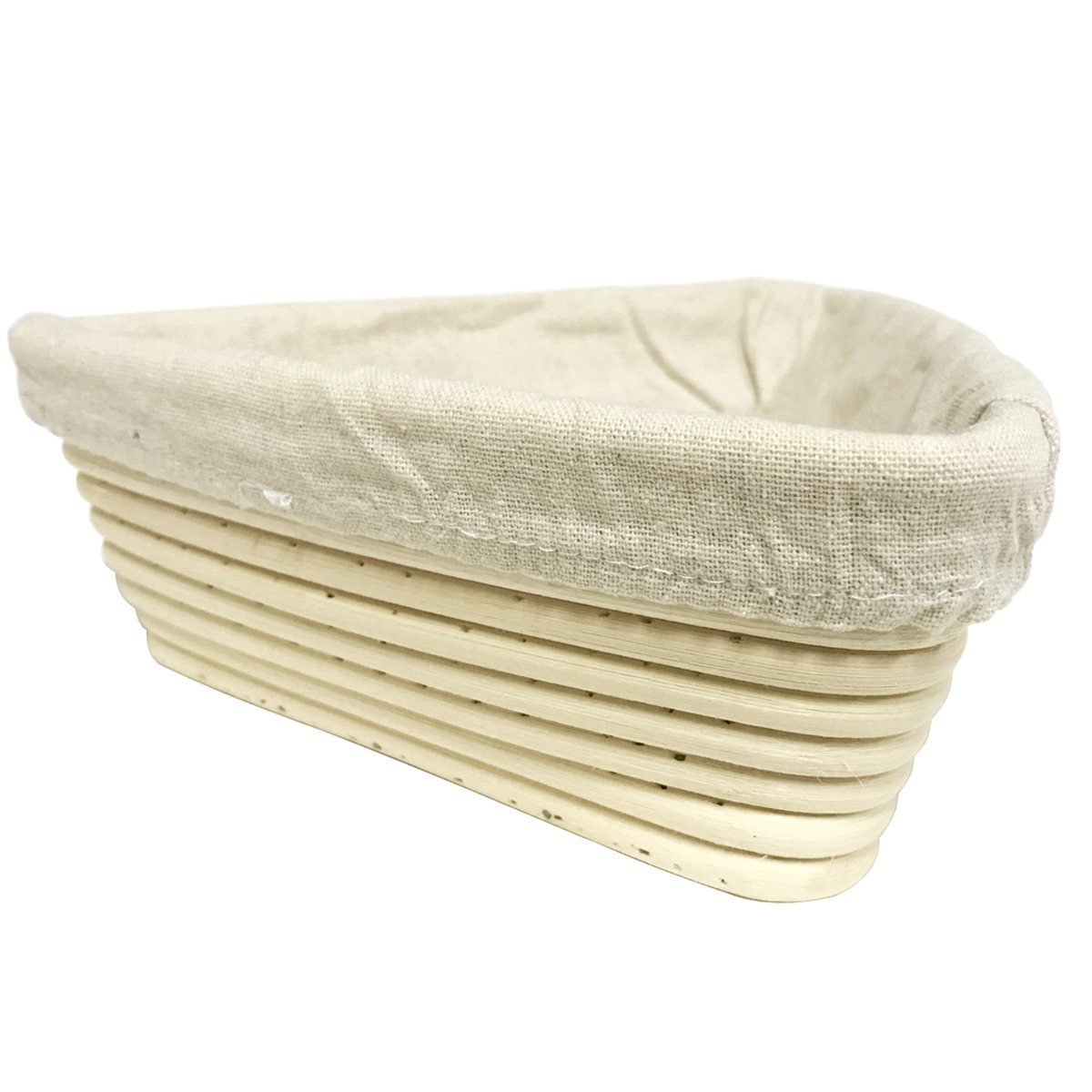 Lanling 6.3 Inch European Style Triangle Shaped Banneton Brotform Bread Dough Proofing Rising Rattan Basket with Linen Liner Cloth