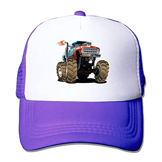 0f8017b3 Image Unavailable. Image not available for. Color: Monster Truck Fired  Unisex Adjustable Mesh Baseball Caps Dad Trucker Hat