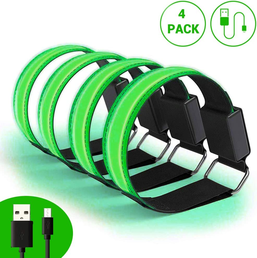 SAMTITY 4 Pcs Luminous LED Armbands USB Reflective Safety Strap Band Bracelets for Outdoor Jogging Running Sport
