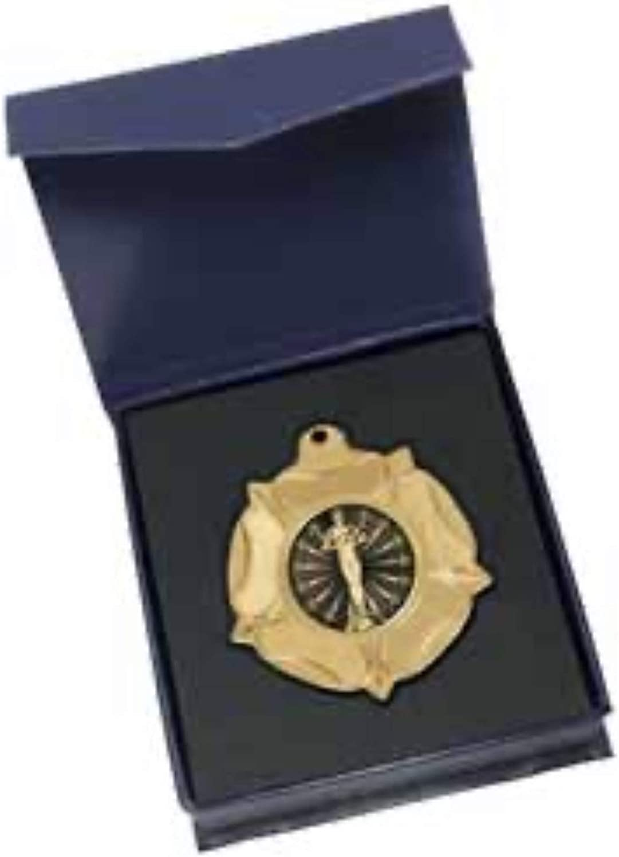 Emblems-Gifts - Figura de Logro, diseño de Medalla de Oro con Texto en inglés Tudor Rose en Caja de Regalo: Amazon.es: Deportes y aire libre