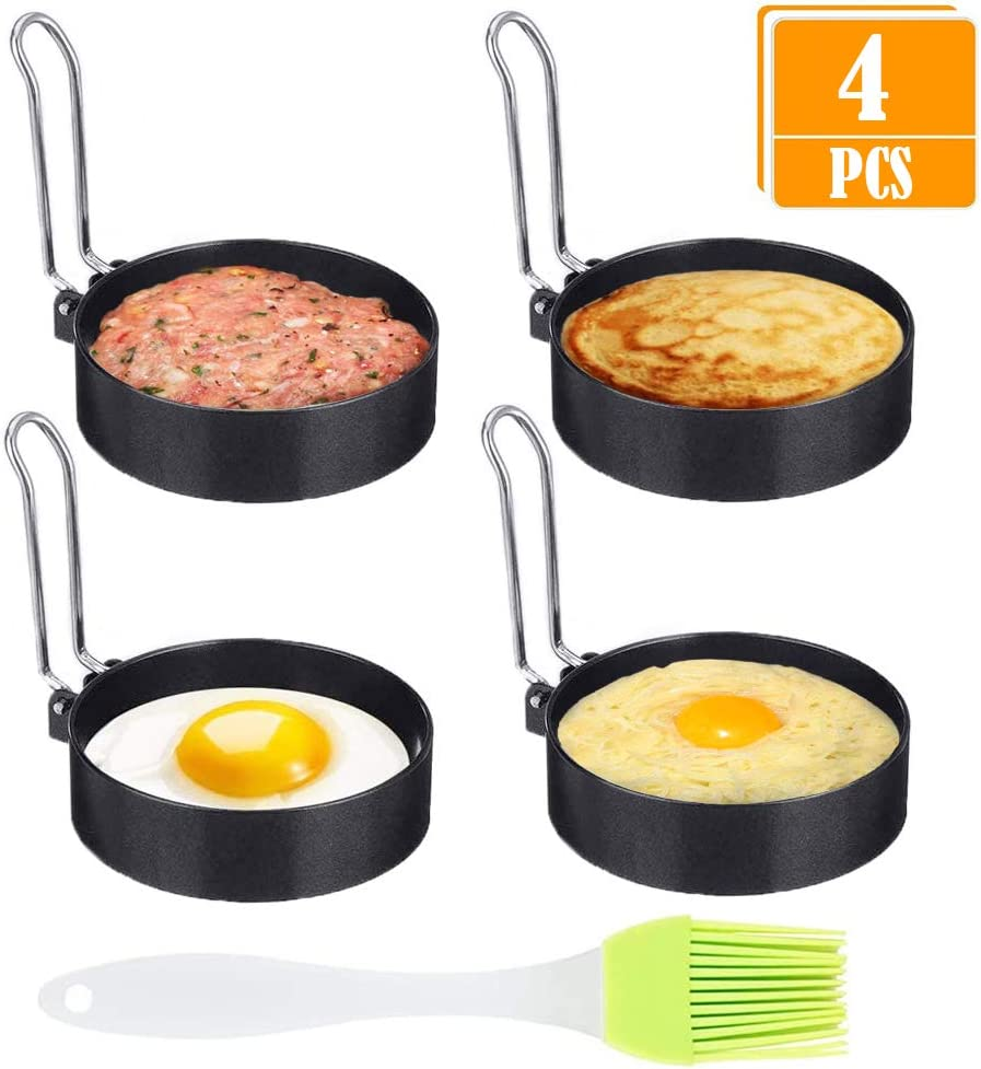 Pancake Sandwiches Fried Egg Stainless Steel Non-Stick Egg Ring Molds with Collapsible Handles for Cooking Round Egg Ring 4 Pack
