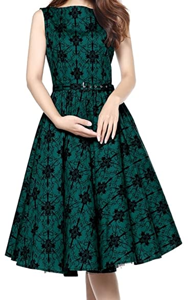 -Date Night- Vintage Style 30s 40s Retro Pinup Swing Green Formal Dress (XS