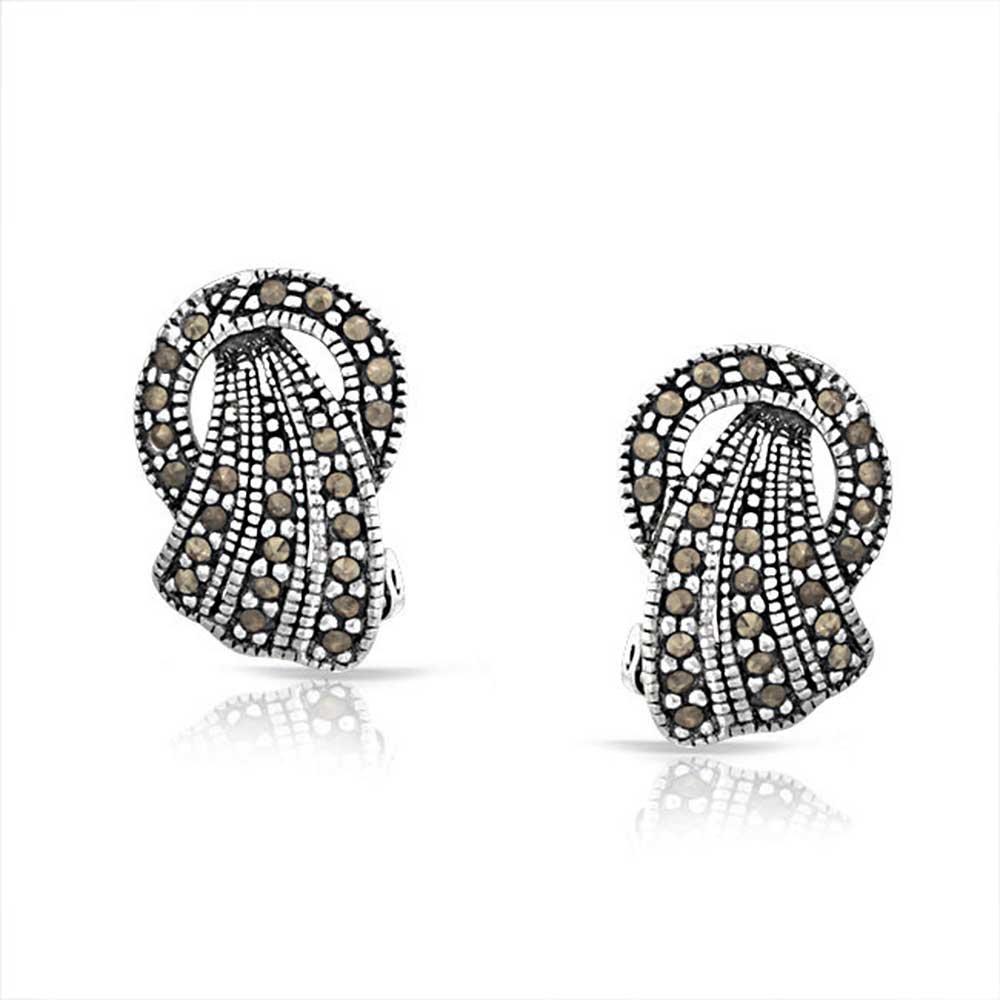 0c7b0acc4 Amazon.com: Vintage Style Marcasite Fan Circle Black Clip On Earrings For Women  Non Pierced Ears 925 Sterling Silver: Jewelry