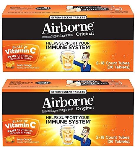 C Airborne Vitamin (Airborne Zesty Orange Effervescent Tablets Vitamin C 1000mg x 36 Counts (2 Pack))
