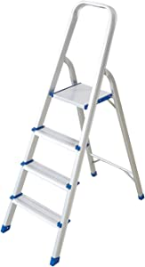 Livebest Folding 4 Step Ladder Lightweight Aluminum Step Stool with Anti-Slip Step Hand Rails for Home Kitchen Office Use,330 lbs