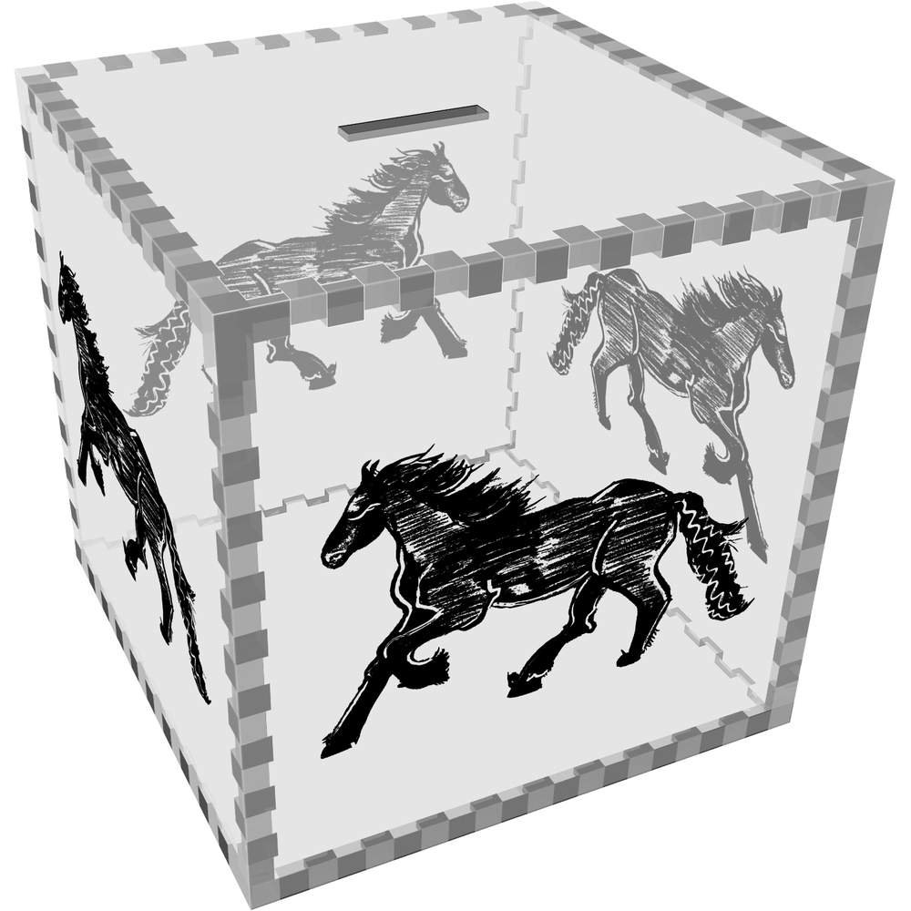 Azeeda Large 'Galloping Horse' Clear Money Box / Piggy Bank (MB00049926)