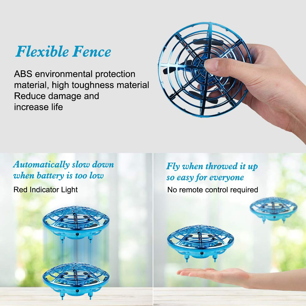 Hand Operated Drone Helicopter Easy Indoor Small Orb Flying Ball Drone Toys for Boys or Girls Picobee UFO Drones for Kids or Adult Blue